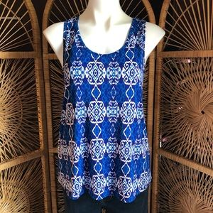 PIXLEY Diamond Patterned Tank Top Blue White Med